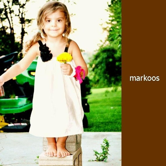 Custom Black and Champagne Lulu Dress for A.M. - featuring hand made flowers- you choose colors- sizes 6mo to 10