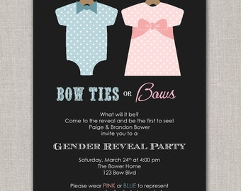 Bow Ties or Bows Gender Reveal Party Invitation