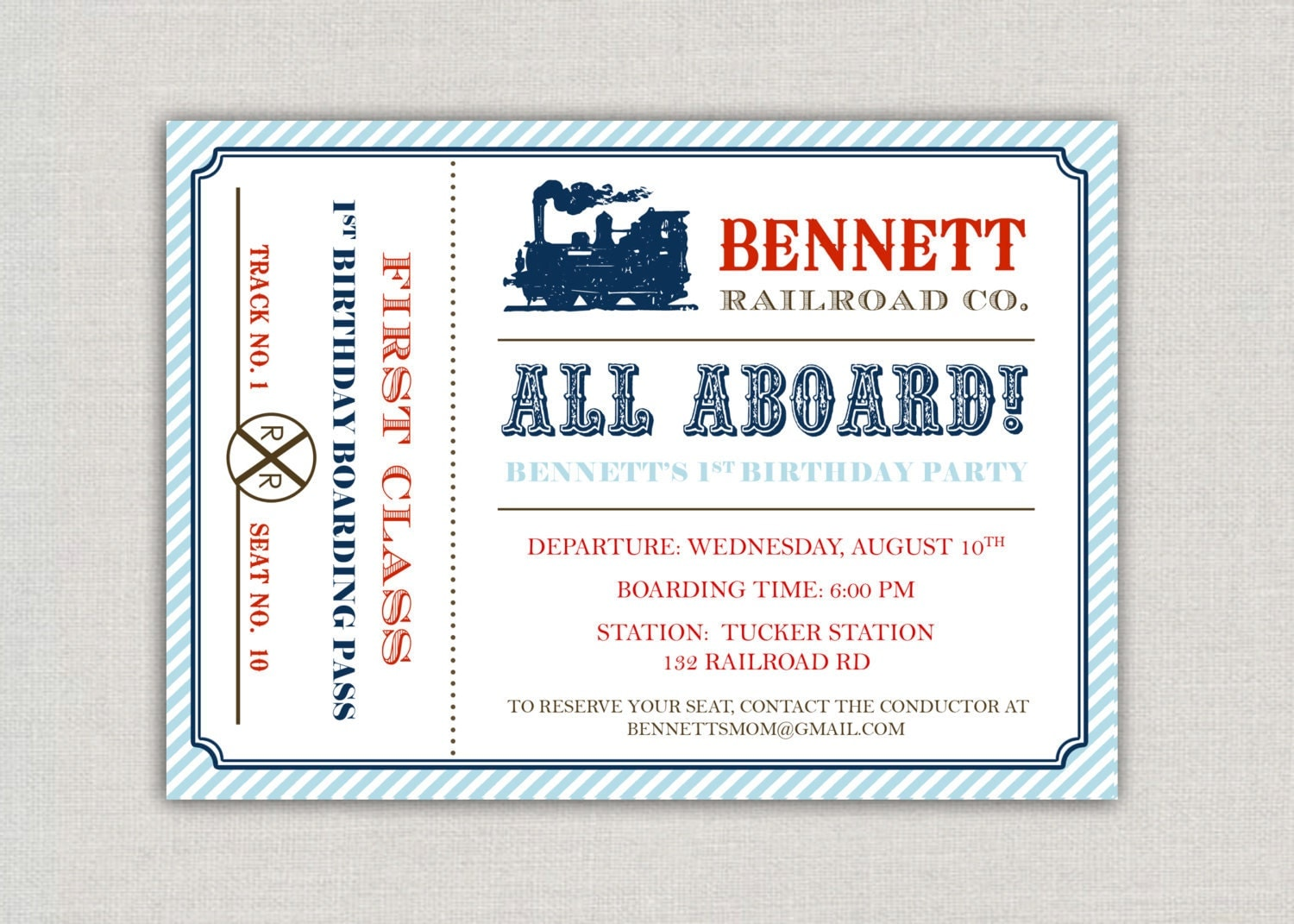 vintage train ticket birthday party invitation by announcingyou. Black Bedroom Furniture Sets. Home Design Ideas