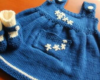 Little Blue Cream Dress Matching Booties Sundress Jumper Flowers