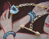 Aquamarine Heart and Arrow Handcrafted 18K Gold Lariat, Ready to Ship