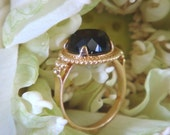 Quora, Etruscan-Inspired Ring in 18k Gold and Black Onyx - Made to Order