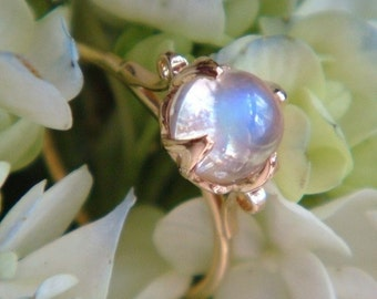 The Lotus Ring in 18k Yellow Gold with Top Quality Blue Sheen Moonstone, Engagement or Right Hand Ring, Made to Order