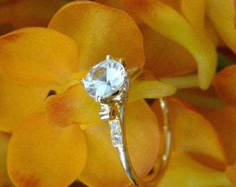 Lotus Engagement Ring (Open Setting) in 18k Yellow Gold, Original Design, Made to Order