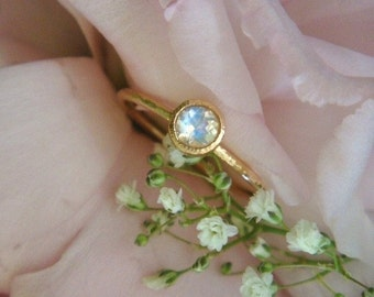 Hammered Lotus Seed Ring in 14k Rose Gold and Rainbow Moonstone (Made to Order)