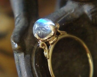 Lotus Ring in 18k Yellow Gold, Top Quality Blue Sheen Moonstone and Diamonds, Engagement or Right Hand Ring, Made to Order