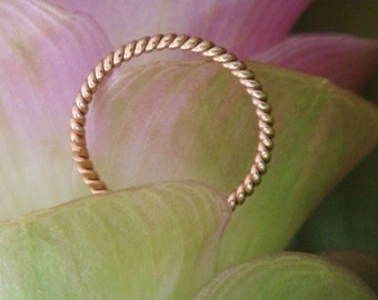 18k Rose Gold Rope Band, Made to Order