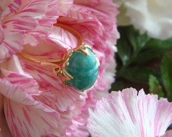 Scarab Lotus Ring in 18k Yellow Gold with Natural Amazonite (Made to Order)