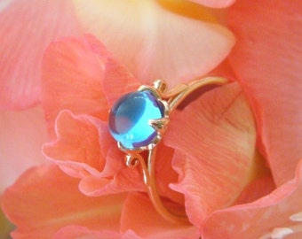 Heart of Water Jewels Lotus Ring in 18k Gold and Swiss Blue Topaz, Made to Order