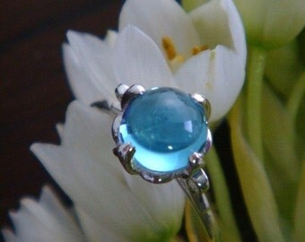 Lotus Ring in Sterling Silver and Swiss Blue Topaz - Made to Order