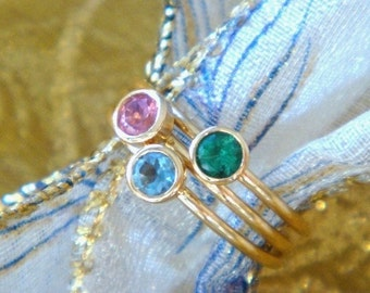 Emerald Ring, Emerald Lotus Seed in 18k Rose or Yellow Gold, Made to Order