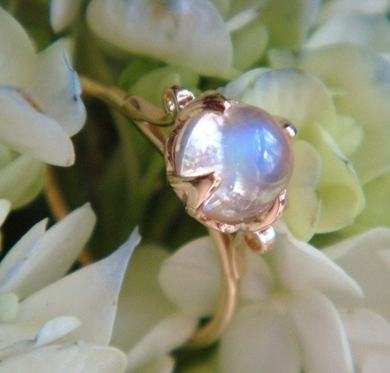 The Lotus Ring, 18k Yellow Gold, Top Quality Blue Sheen Moonstone Ring, Made to Order