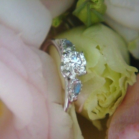 Heart of Water Diamond Engagement Ring (Made to Order, Varied Gems and Prices Available)