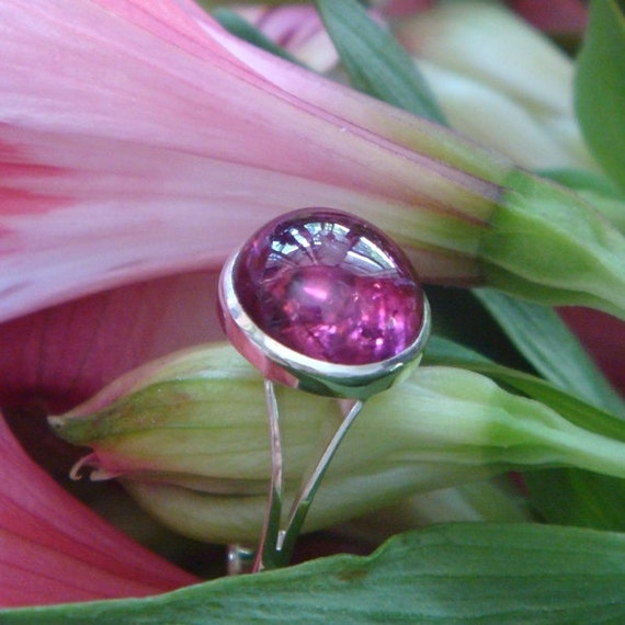 Full Moon Ring with Natural, Untreated Rhodolite Garnet, Ready to Ship