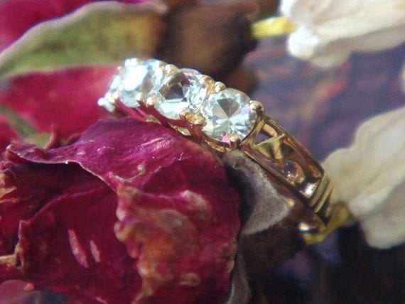 Natural, Top Quality Aquamarine and 18k Gold Handcrafted Ring (Ready to Ship)