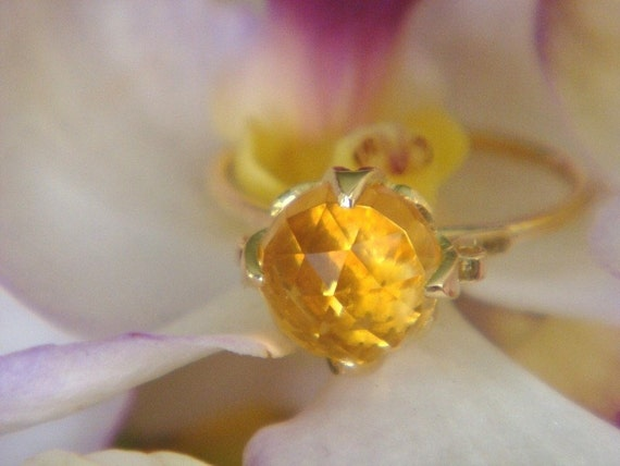 Summer Blossom, the Lotus Ring in Rose Cut Citrine and Solid 18k Gold, Made to Order