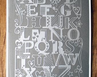 Silver Alphabet - Laser-cut. Framed.