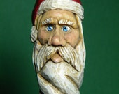 Hand Carved Spiral Wood Old World Santa Holiday Christmas Ornament