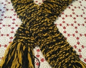 Thick Warm Black and Gold College Scarf