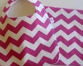 Baby Girl . Bib & Burp Cloth Gift Set . Eco-Organic . Chevron Pink . Handmade by The Fresh Stitch