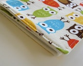 Baby Girl or Boy Burp Cloth . Eco-Organic . Owl Orange