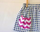 Girls Skirt . Blue and White Polka Dot . Pink Chevron Pocket . Last One . Buy 2 Get 1 Free SALE