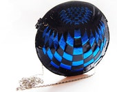 Glossy Black/blue leather weaving bag