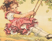 Reserved for kathyhope1     The Swing  -Beautiful Large Childrens Illustration  -Vintage By Clara M. Burd