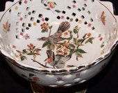 Reserved for kathyhope1    SALE  -Birds, Flowers, Bugs  --Very Nice Compote --Hand Painted