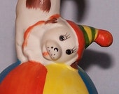 Bisque Bell 1950's  - Clown Dog Standing On Ball  -Vintage  -SALE