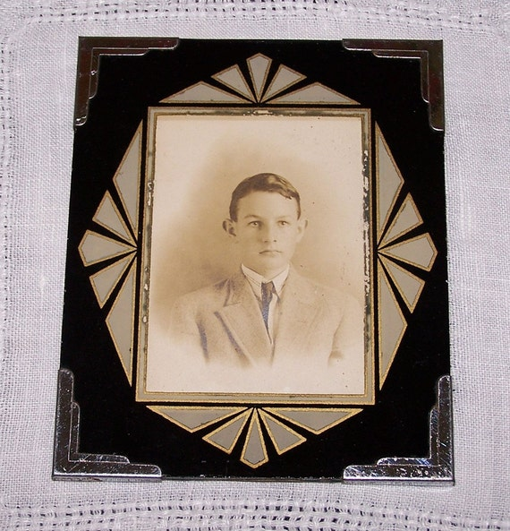 Art Deco Glass Picture Frame Vintage Black And Gold