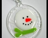 Glassworks Northwest - Frosty the Snowman with a Lime Scarf in a Snowstorm - Fused Glass Ornament