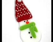 Glassworks Northwest - SLUSH the Small Snowman with the Red Hat and Lime Scarf - Fused Glass Ornament
