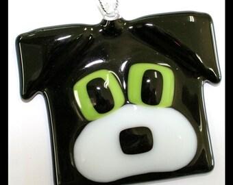 Glassworks Northwest - Black and White - Fused Glass Dog Friend Ornament