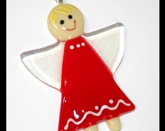 Glassworks Northwest - Angel with Red Dress and Blonde Hair - Fused Glass Ornament