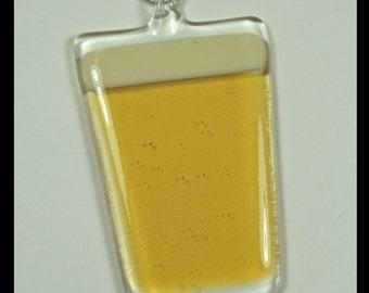 Glassworks Northwest - Pint of Light Beer - Fused Glass Art Ornament