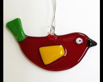 Glassworks Northwest - Red Bird - Fused Glass Ornament