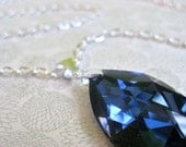 RESERVED FOR kristenmlancaster --  Royal Blue Necklace - Swarovski crystal pendant, silver (The Alexis Necklace, large)