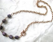 "Amethyst & Rose Gold Necklace - ""The Isabella Necklace"""
