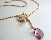 "Antique Pink Swarovski Crystal Lariat Necklace on Rose Gold - ""The Arianna Necklace"""