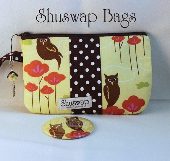 Shuswap Bags Patchwork Owl and Polkadot  Wristlet and Mirror Set