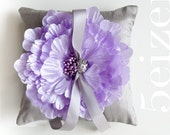 Emma Series I - Lilac Bloom and Gray Dupioni Silk Wedding Ring Pillow