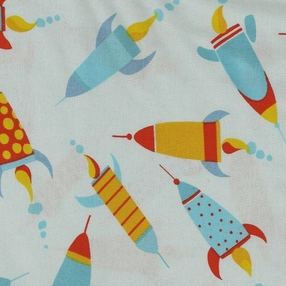 1 yard - Painted Rockets fabric - teal