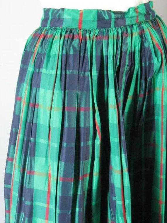 Swishy Green Plaid Taffeta Holiday Skirt