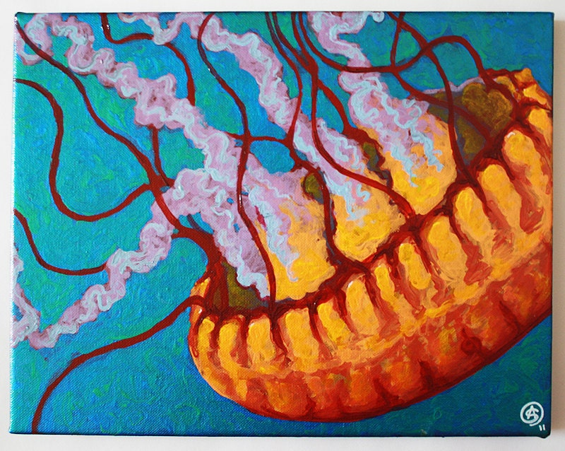 Jellyfish 11x14 original acrylic painting by amy swartz for Jelly fish painting