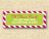 PEPPERMINT STICK...Custom Address Label or Sticker...Printable Design...by KM Thomas Designs