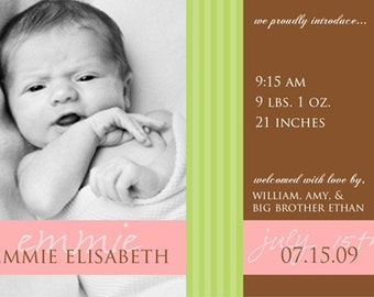MODERN STRIPES...Custom Photo Birth Announcement...by KM Thomas Designs
