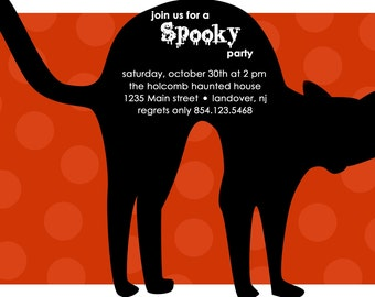 Spooky Cat - Custom Halloween or Fall Invitation