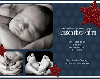 Little All-Star Red and Blue Custom Photo Birth Annouoncement