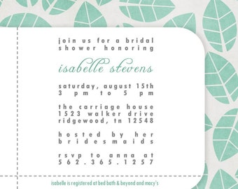 Custom Printable Baby or Wedding Shower Invitation with flowers...Fresh...by KM Thomas Designs